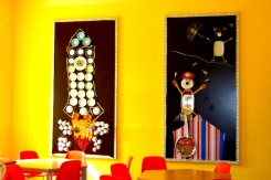 Wandgestaltung Speiseraum mit Kindern, in Kooperation mit Ulrike Kauf